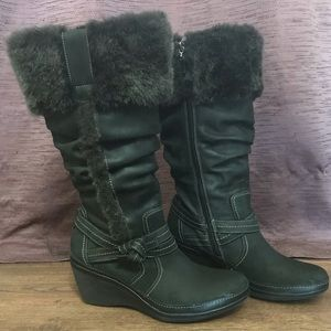 Clark's Artisan Tall Faux Fur Trimmed Winter Boots